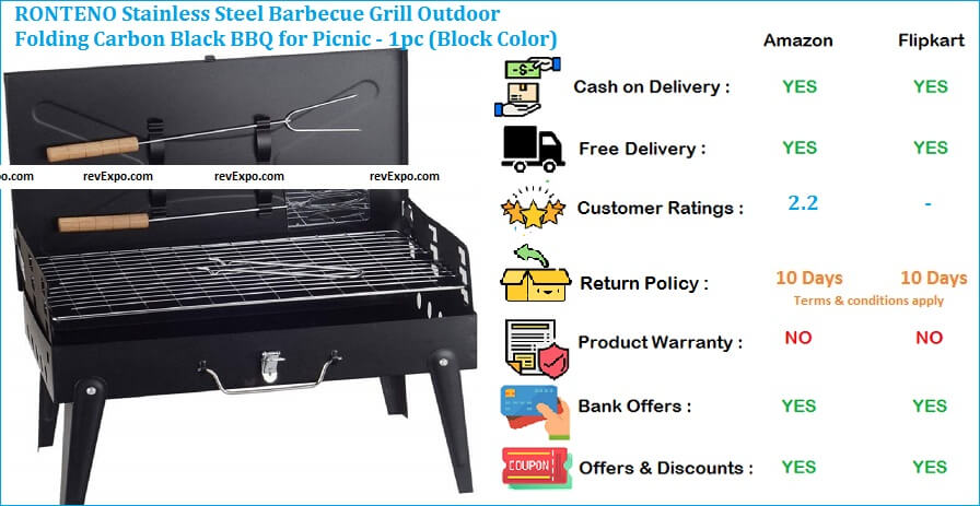 RONTENO Barbecue Grill Stainless Steel Outdoor Folding Carbon Black for Picnic