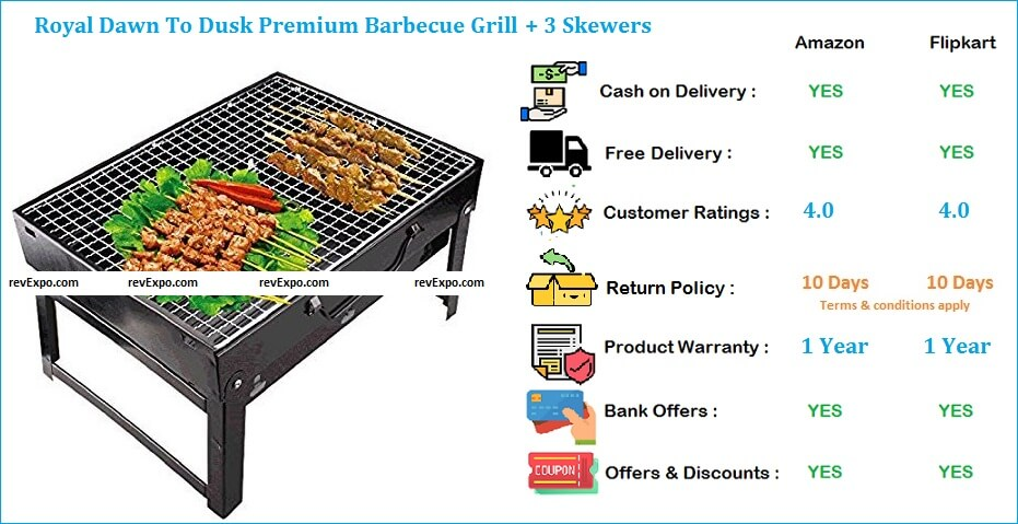 Royal Dawn To Dusk Premium Barbecue Grill with 3 Skewers