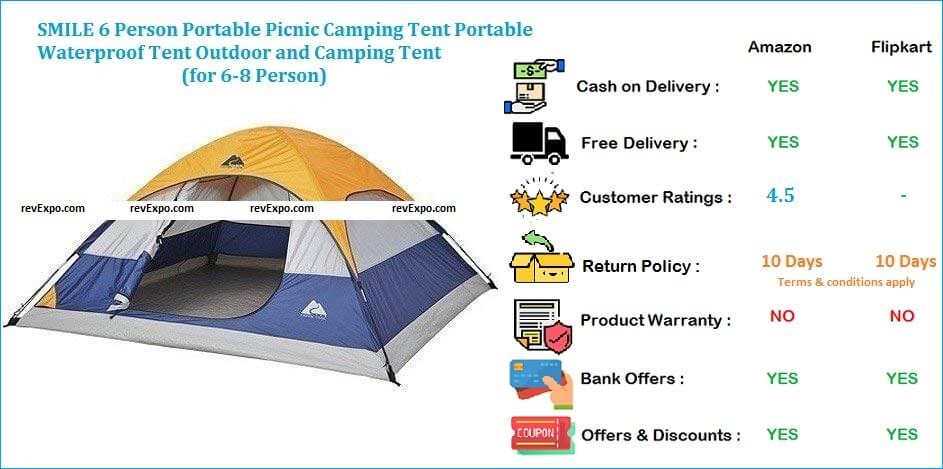 SMILE Camping Picnic Tent Portable, Waterproof & Outdoor for 6-8 Person