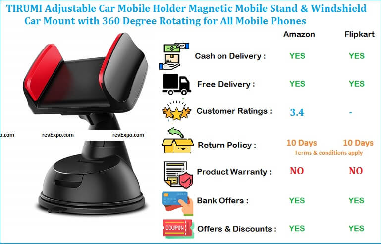 TIRUMI Adjustable Mobile Stand for Car with Magnetic Mobile Holder