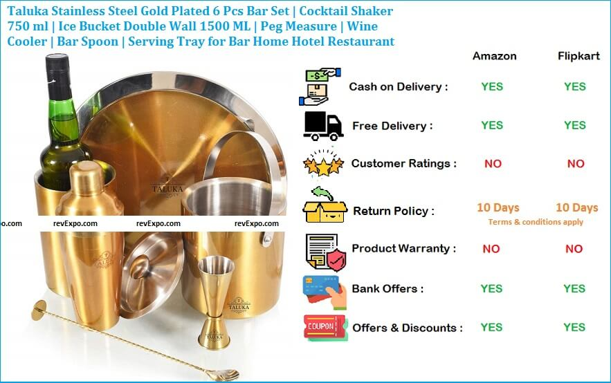 Taluka Stainless Steel Gold Plated 6 Pcs Bar Set - Cocktail Shaker 750 ml - Ice Bucket Double Wall 1500 ML - Peg Measure- Wine Cooler