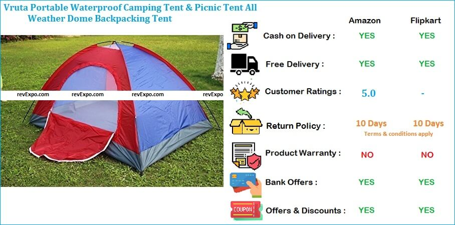 Vruta Picnic Camping Tent Portable, Backpacking & Waterproof for All Weather Dome