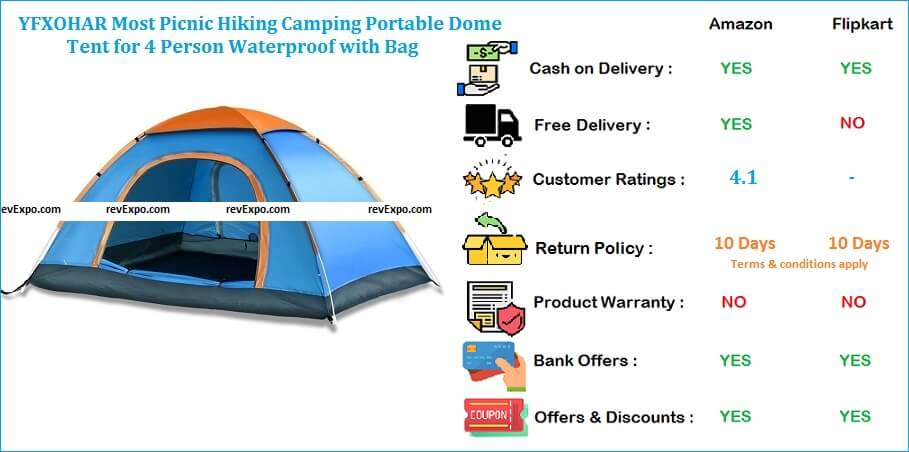 YFXOHAR Camping Dome Tent Portable, Most Picnic, Hiking & Waterproof for 4 Person with Bag