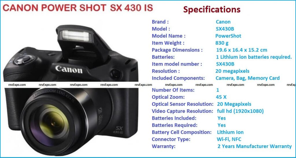 canon powershot sx430 is specifications