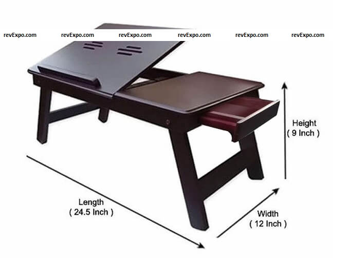 ebee brown laptop table-foldable study table measurement