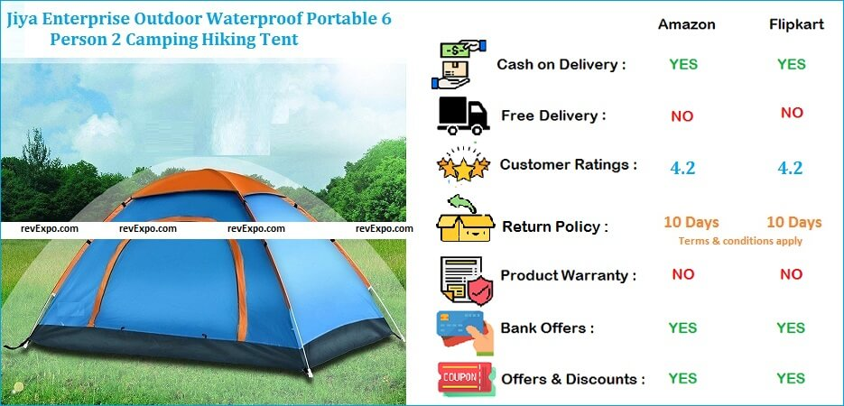 jiya Enterprise Outdoor Camping Hiking Tent Waterproof Portable for 6 Persons