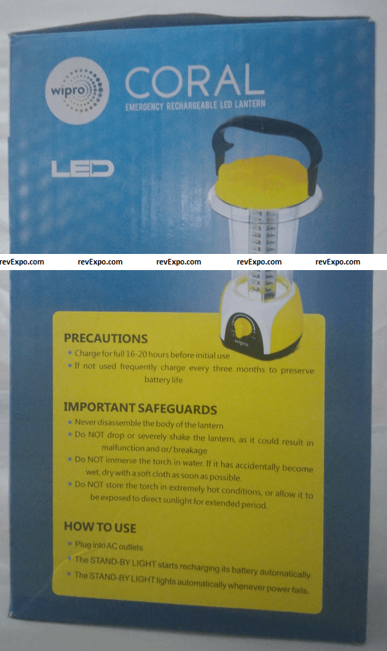 wipro coral rechargeable battery emergency led light precautions & how to use