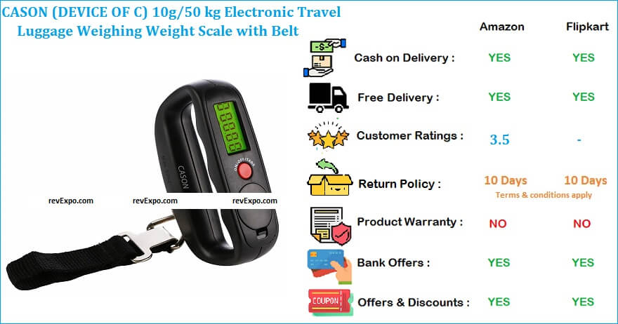 CASON 10g-50 kg Electronic Travel Luggage Weighing Weight Scale with Belt
