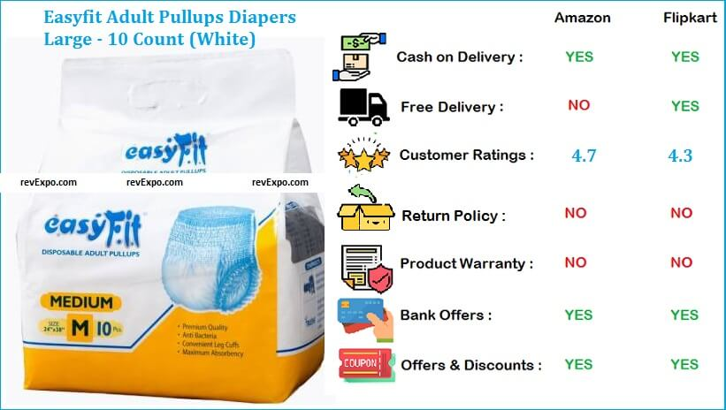 Easyfit Adult Pull Ups Diapers Large - 10 Count