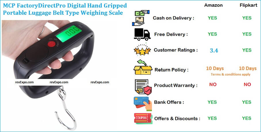 MCP FactoryDirectPro Digital Hand Gripped Portable Luggage Belt Type Weighing Scale