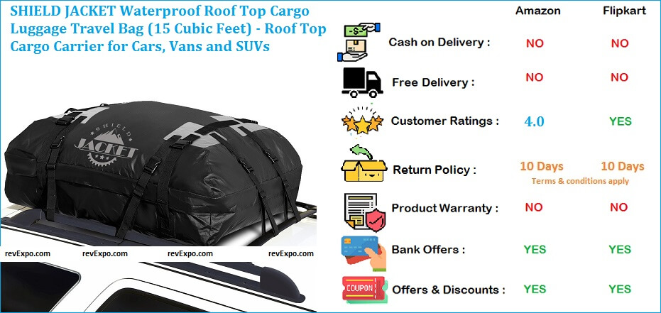 SHIELD JACKET Roof Top Cargo Carrier for Cars