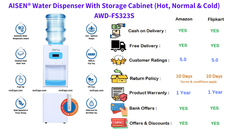 AISEN Hot, Normal and Cold Water Dispenser With Storage Cabinet