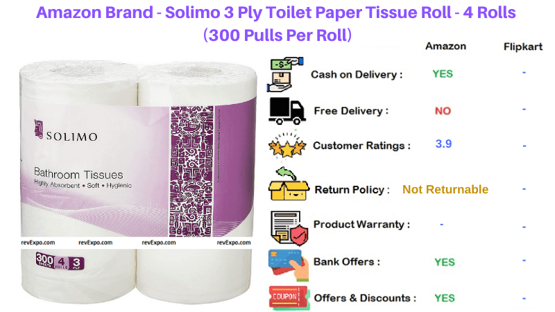 Amazon Brand Solimo 4 Rolls 3 Ply Toilet Paper Roll