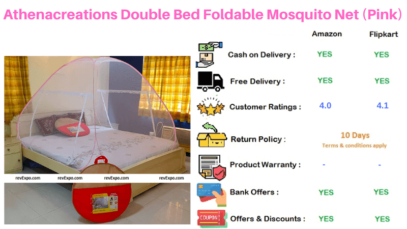 Athenacreations Foldable Double Bed Pink Mosquito Net