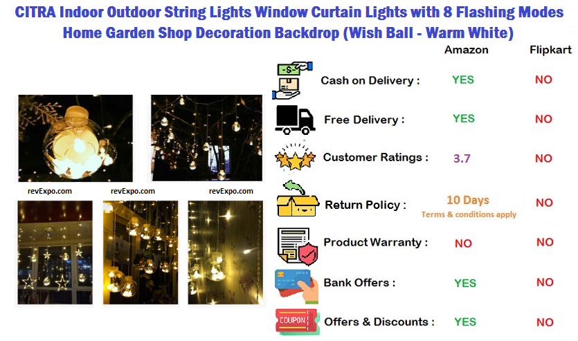 CITRA Indoor Outdoor String Lights Window Curtain Lights with 8 Flashing Modes