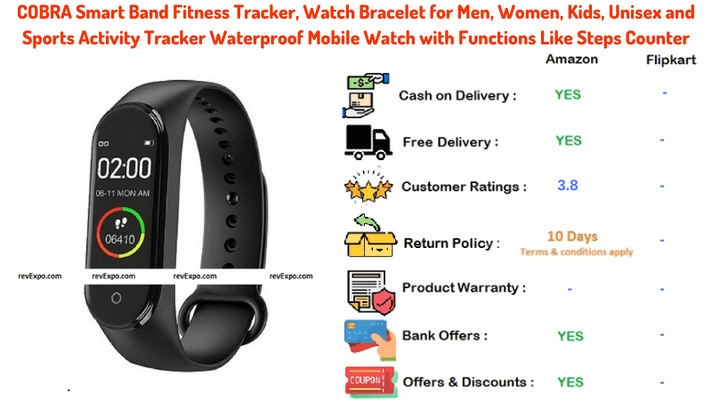 COBRA Smart Band Fitness Tracker Unisex and Sports Activity Tracker with Functions