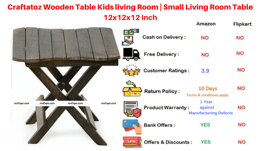 Craftatoz Wooden Table for Living Room Table