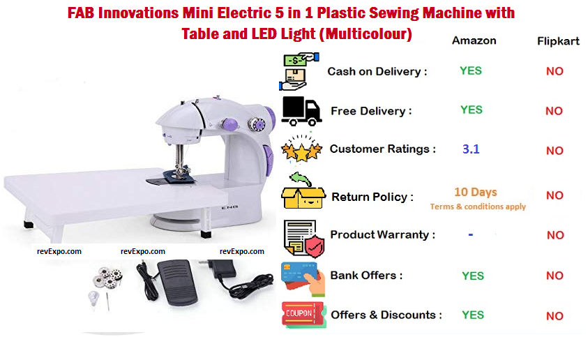 FAB Innovations Plastic Sewing Machine Mini Electric 5 in 1