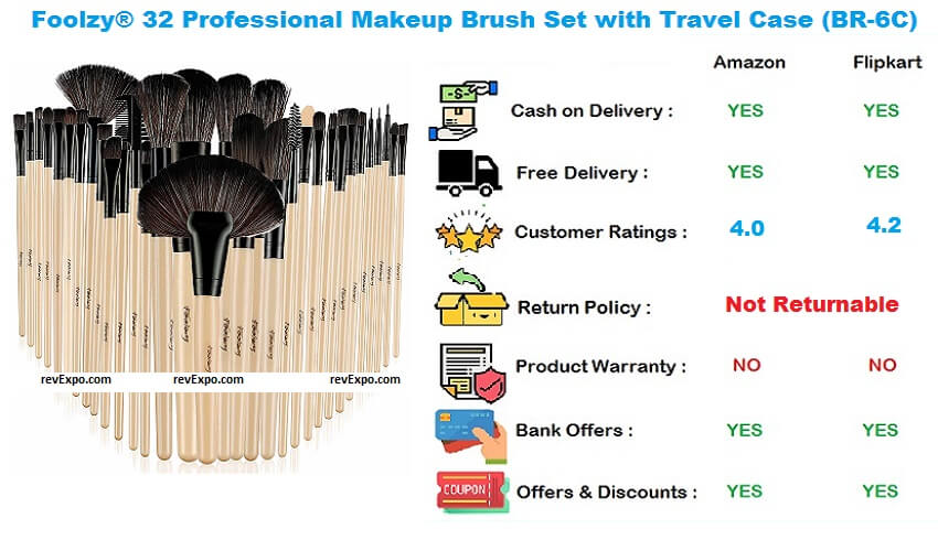Foolzy 32 Professional Makeup Brush Set with Travel Case