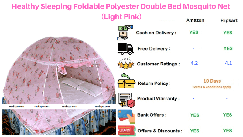 Healthy Sleeping Light Pink Double Bed Polyester Foldable Mosquito Net