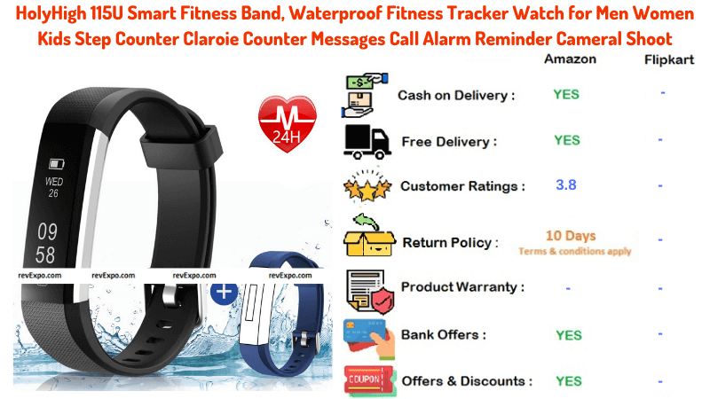HolyHigh Waterproof Smart Fitness Band with Claroie Counter and Reminder