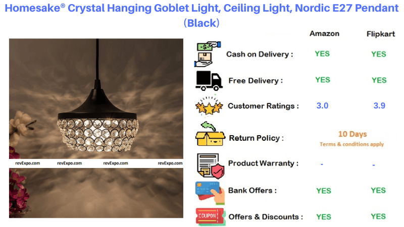 Homesake Crystal Ceiling Light with Pendant