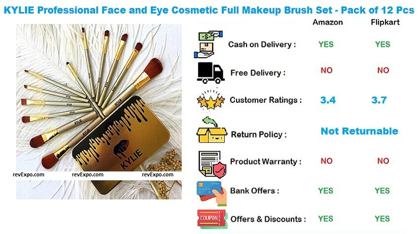 KYLIE Professional Face and Eye Cosmetic Full Makeup Brush Set - Pack of 12 Pieces