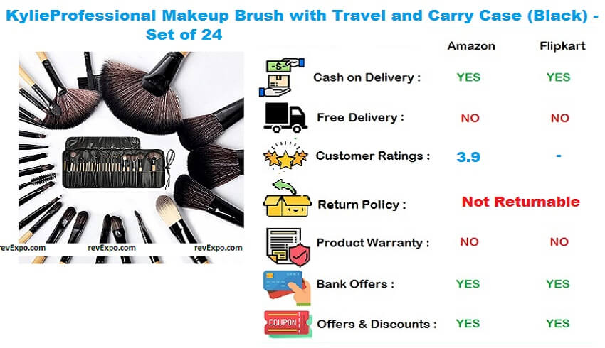 KylieProfessional Makeup Brush set with Travel and Carry Case-Set of 24