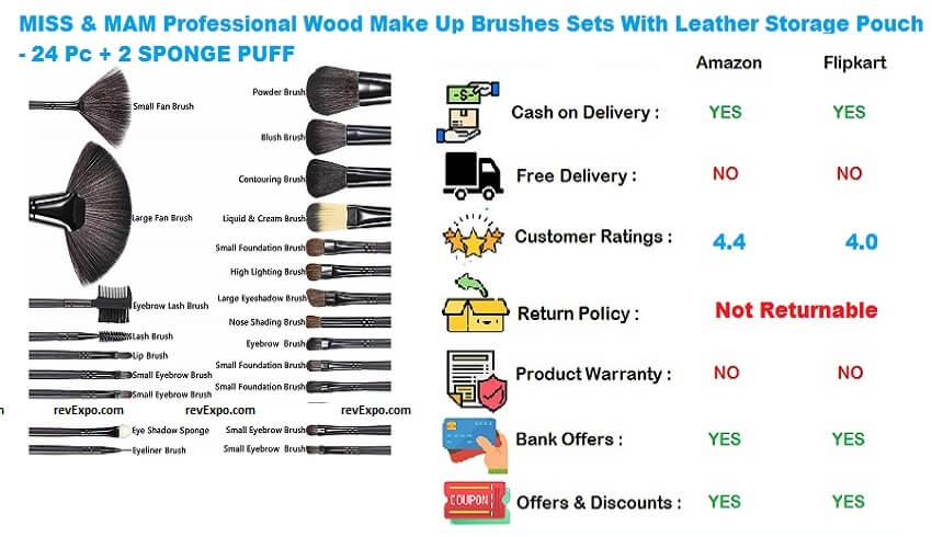 MISS & MAM Professional Wood Make Up Brushes Sets With Leather Storage Pouch - 24 Pc ,2 SPONGE PUFF