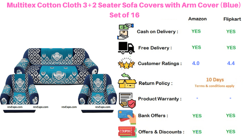 Multitex Sofa set Covers Cotton with Arm Cover Set of 16