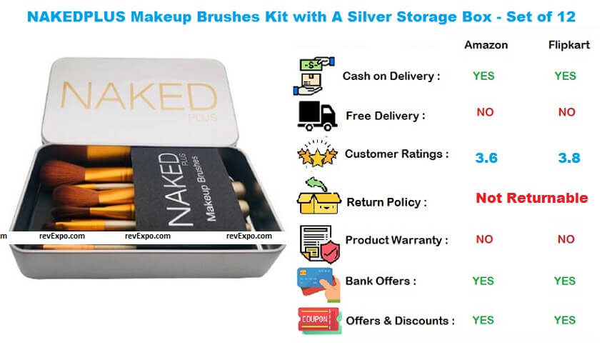 NAKEDPLUS Makeup Brushes Kit with A Silver Storage Box Set of 12