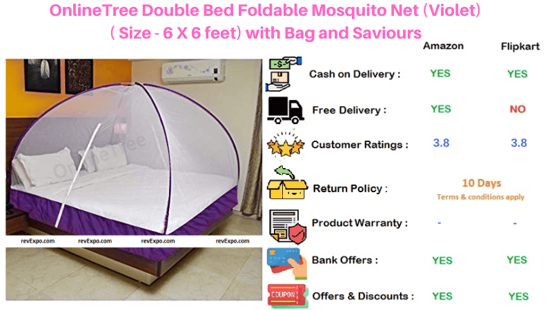 OnlineTree Foldable Double Bed Violet Mosquito Net with Bag and Saviours