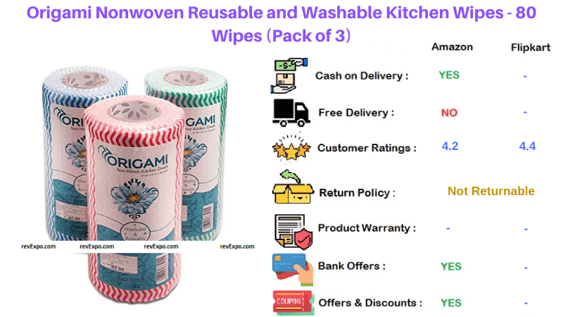 Origami Reusable and Washable pack of 3 Kitchen Wipes Nonwoven