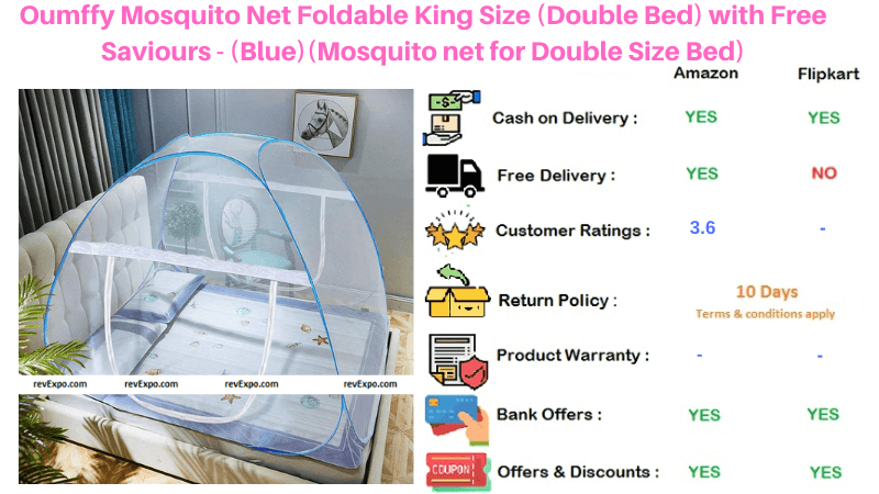 Oumffy Foldable King Size Blue Mosquito Net with Free Saviours