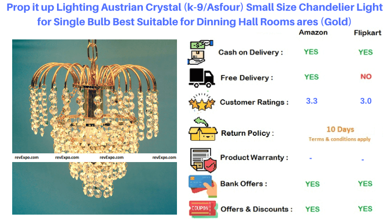 Prop it up Lighting Small Size Austrian Crystal Gold Chandelier Light