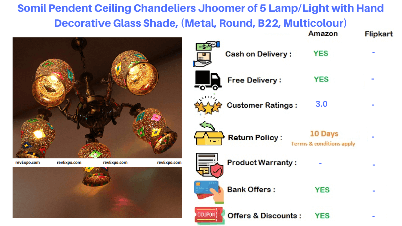 Somil Pendent Ceiling Chandeliers Light with Hand Decorative Glass Shade