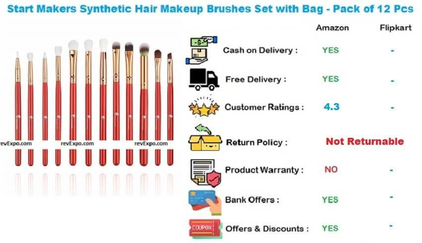 Start Makers Synthetic Hair Makeup Brushes Set with Bag - Pack of 12 Pieces