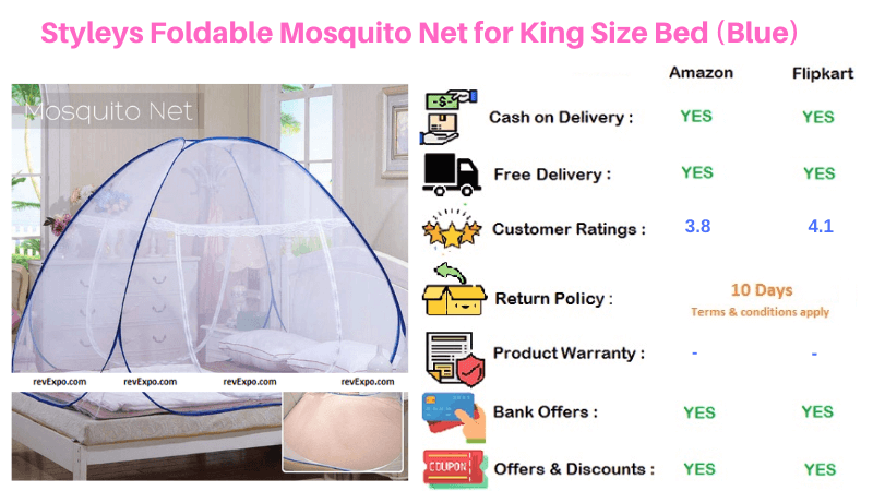 Styleys King Size Bed Foldable Blue Mosquito Net