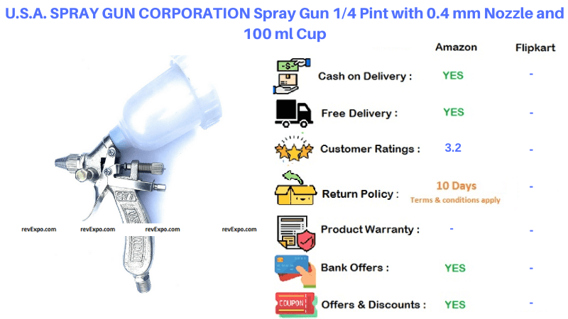 U.S.A CORPORATION Spray Gun with Nozzle and Cup