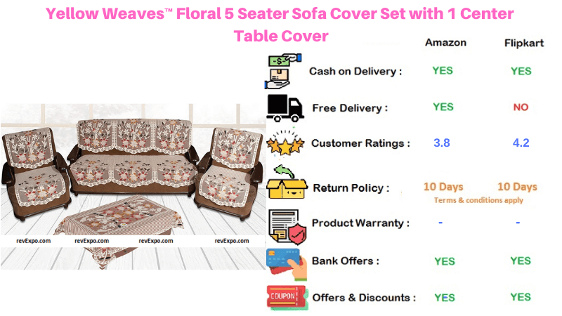 Yellow Weaves Sofa Cover 5 Seater Set with Center Table Cover