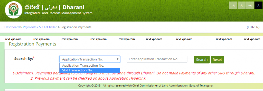 registration payment search by application or slot transaction