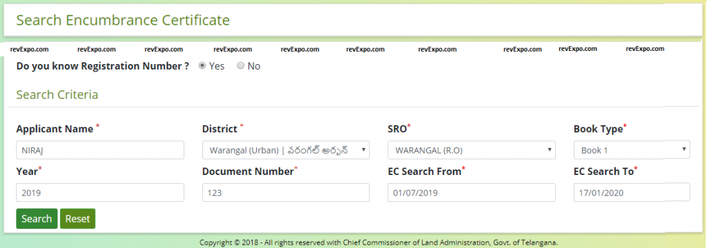 search for ec using registration number