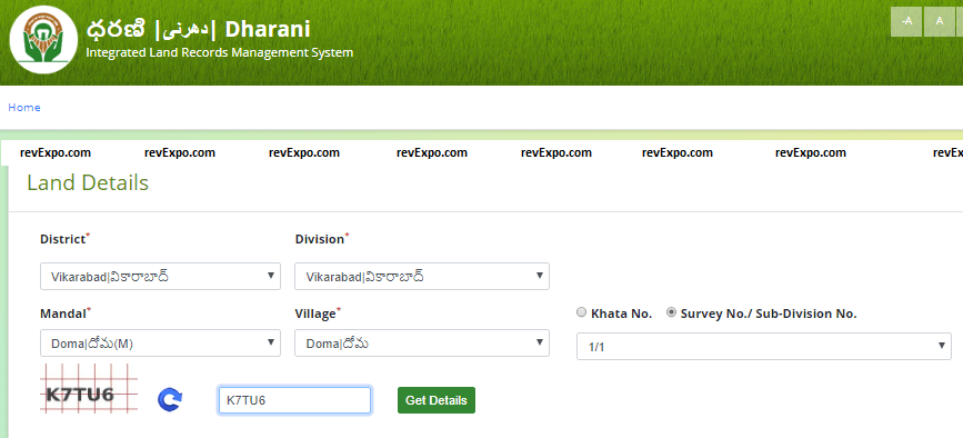search for land details
