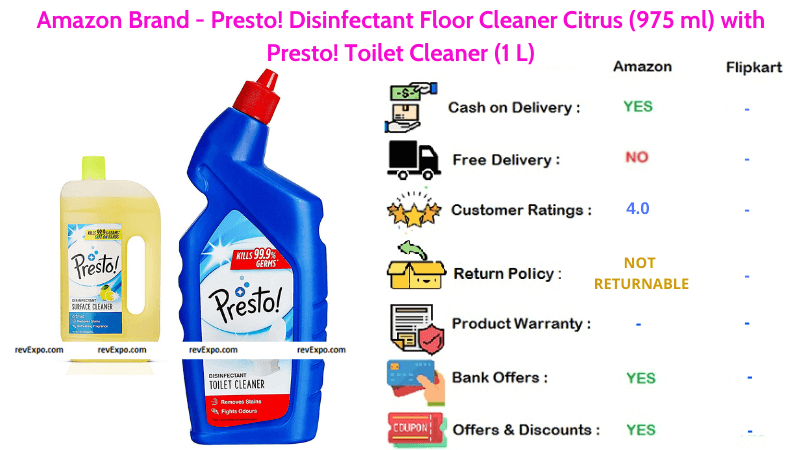 Amazon Brand Presto Floor Cleaner Disinfectant with Citrus Smell along with Toilet Cleaner