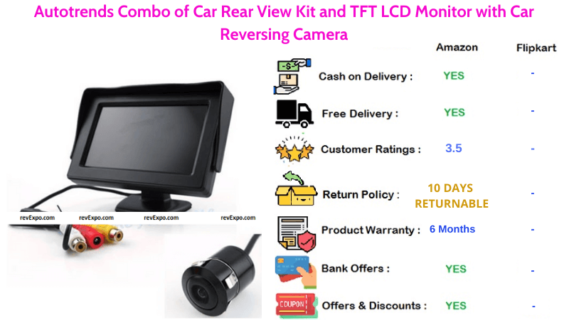 Autotrends Car Reverse Camera Kit Combo with TFT LCD Monitor & Rearview Camera