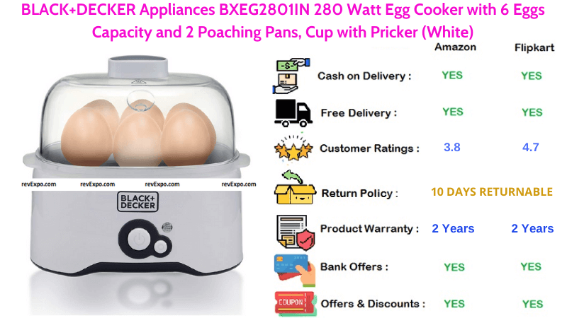 BLACK & DECKER 280 Watt Egg Boiler with 2 Poaching Pans, Cup with Pricker and 6 Eggs Capacity