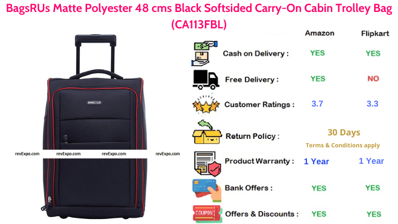 BagsRUs Matte Polyester 48 cms Bag with Black Softsided Carry-On Cabin
