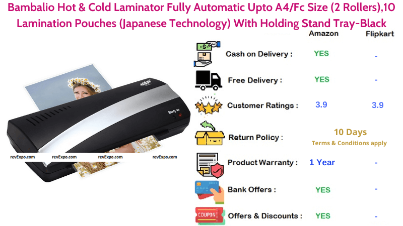 Bambalio Hot & Cold Fully Automatic A4 Size Black Laminator With Holding Stand Tray-