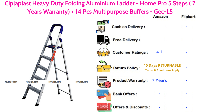 Ciplaplast Aluminium Ladder with 5 Steps Heavy Duty Folding for Home