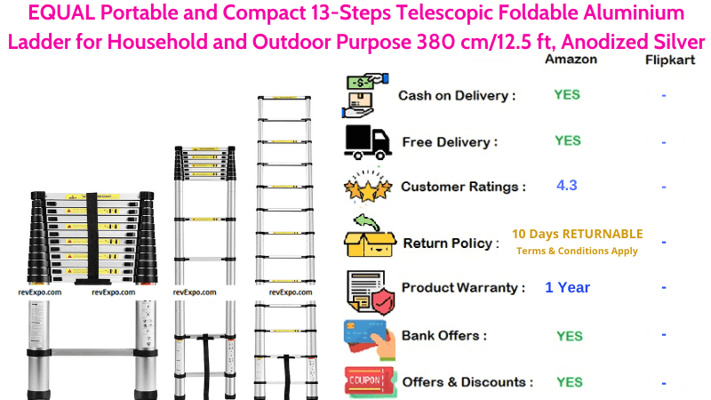 EQUAL Foldable Aluminium Telescopic Ladder Portable and Compact with 13-Steps for Household and Outdoor Purpose